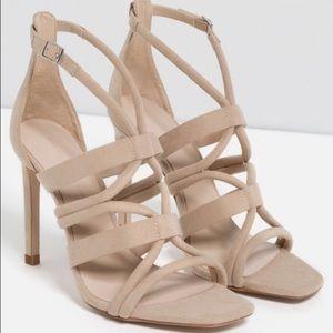 Zara Basic Suede Tan/Cream Strappy Heels
